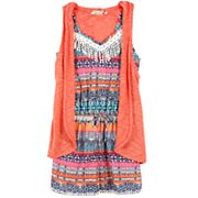 Girls 7-16 Speechless Hooded Slubbed Vest & Patterned Romper