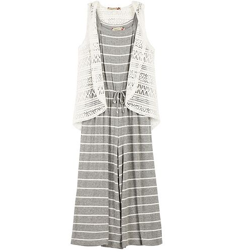 Girls 7-16 Speechless Lace Vest & Striped Ribbed Gaucho Jumpsuit