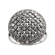 Lavish by TJM Sterling Silver Marcasite Woven Dome Ring
