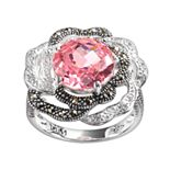 Lavish by TJM Sterling Silver Cubic Zirconia & Marcasite Flower Ring
