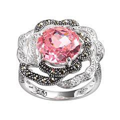 Lavish by TJM Sterling Silver Cubic Zirconia & Marcasite Flower Ring