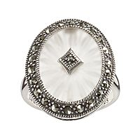 Lavish by TJM Sterling Silver Sunray Crystal & Marcasite Oval Frame Ring