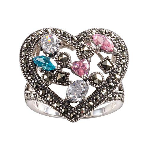 Lavish by TJM Sterling Silver Cubic Zirconia, Simulated Quartz & Marcasite Heart Ring