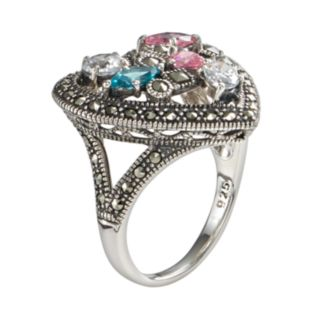 Lavish by TJM Sterling Silver Cubic Zirconia, Simulated Quartz & Marcasite Heart Ring