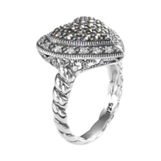 Lavish by TJM Sterling Silver Cubic Zirconia & Marcasite Tiered Heart Ring