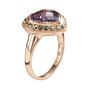 Lavish by TJM 18k Rose Gold Over Silver Purple Cubic Zirconia & Marcasite Heart Ring