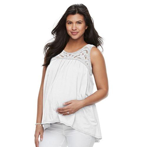 Maternity a:glow Crochet High-Low Tank