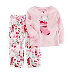 Baby Girl Carter's Mouse Stocking Applique Top & Microfleece Bottoms Pajama Set