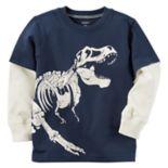 Toddler Boy Carter's Glow-in-the-Dark Dinosaur Mock-Layer Tee