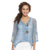 Women's Nina Leonard Open-Work Embellished Cardigan