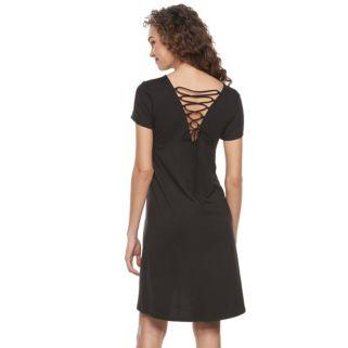 Women's Nina Leonard Lace-Up Trapeze Dress