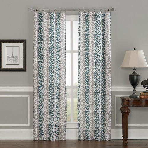 Damask 1-Panel Scroll Window Curtain