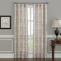 Damask 1-Panel Scroll Window Curtain
