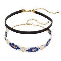 Mudd® Beaded & Faux Suede Choker Necklace Set