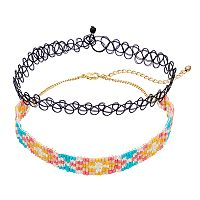 Mudd® Beaded & Tattoo Choker Necklace Set