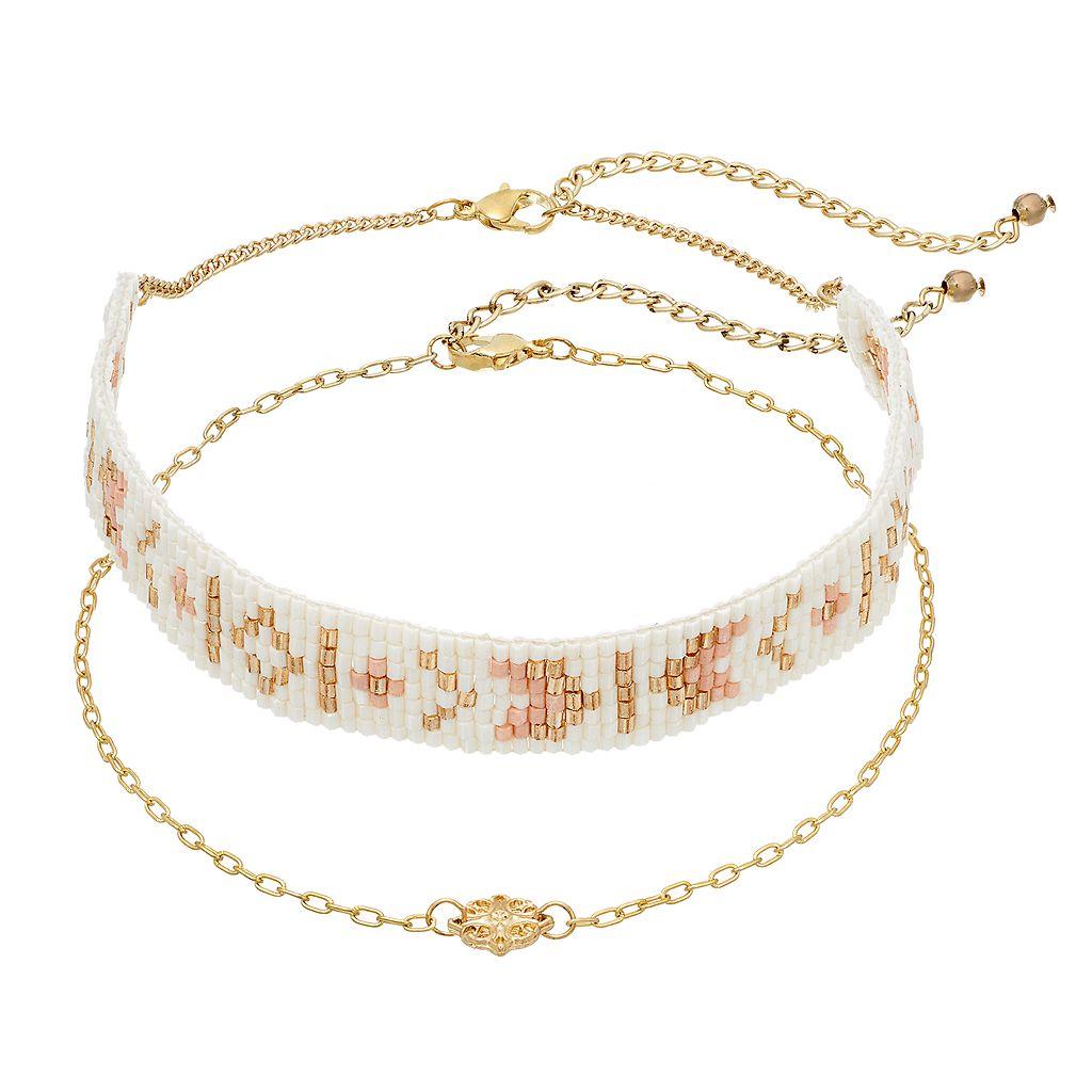 Mudd® Beaded & Medallion Choker Necklace Set