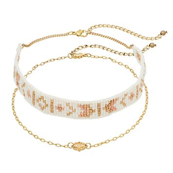 Mudd® Beaded & Medallion Choker Necklace Set
