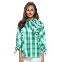 Women's Croft & Barrow® Embroidered Print Shirt