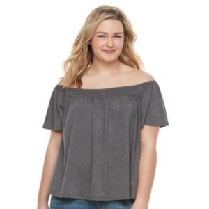 Juniors' Plus Size SO® Smocked Off The Shoulder Top