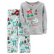 Baby Girl Carter's 'Merry & Bright' Glitter Top & Microfleece Bottoms Pajama Set