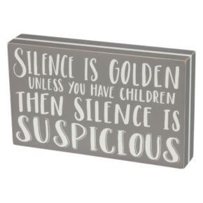 """Silence Is Golden"" Box Sign Art"