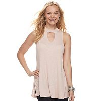Juniors' Pink Republic Ribbed Choker Neck Tank