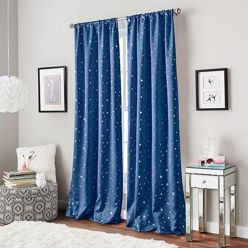Window Curtainworks 1-Panel Starry Night Room Darkening Window Curtain