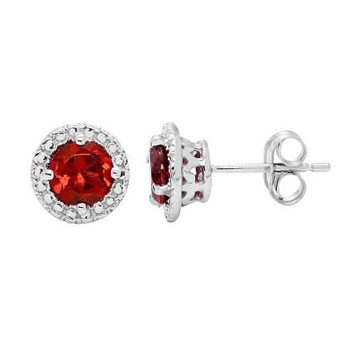 10k White Gold Garnet Beaded Halo Stud Earrings