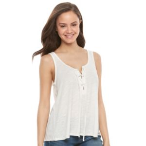 Juniors' SO® Lace-Up Front Tank
