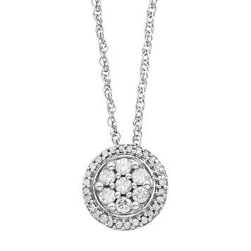 Sterling Silver 1/4 Carat T.W. Diamond Cluster Halo Pendant