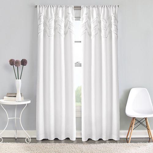 Window Curtainworks 1-Panel Zig Zag Ruffle Pole Top Window Curtain