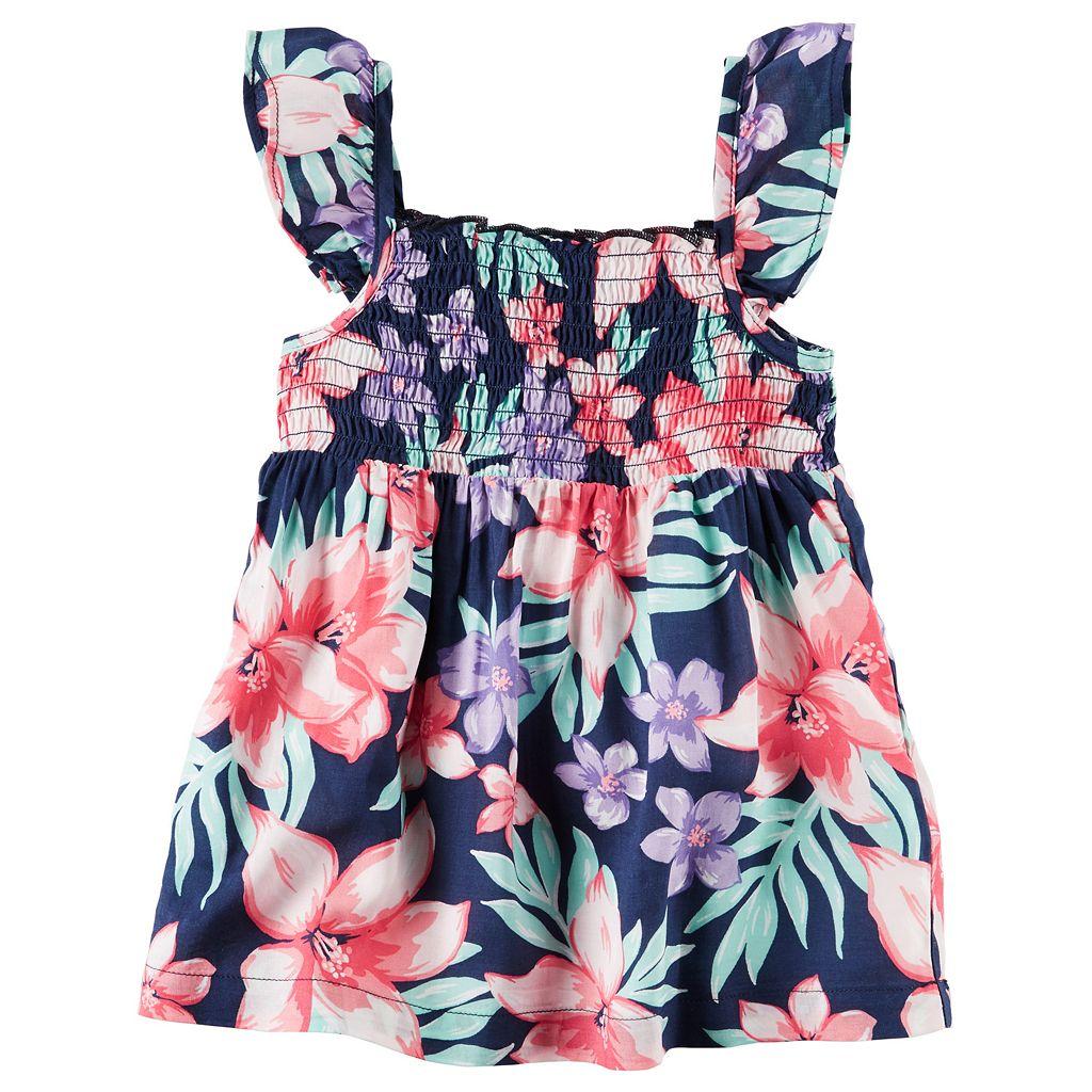Girls 4-8 Carter's Floral Smocked Tank Top