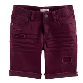 Girls 7-16 & Plus Size Mudd® Wine Red Denim Bermuda Shorts