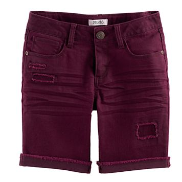 Girls 7-16 & Plus Size Mudd® Wine Red Denim Bermuda Shorts