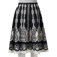 Women's WDNY Black Print A-Line Skirt