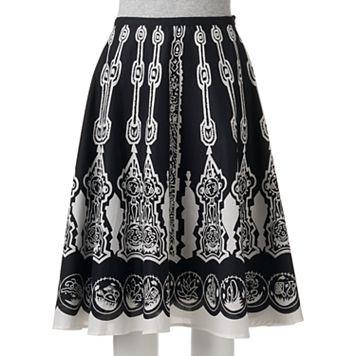 Women's WDNY Black Print A-Line Skirt