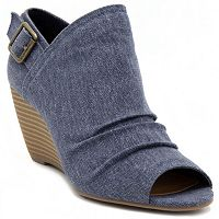 sugar Krenzy Women's Peep Toe Wedges