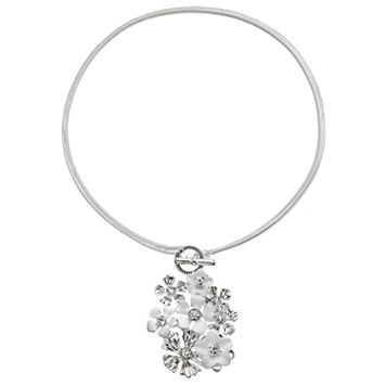 Napier White Flower Cluster Convertible Toggle Necklace
