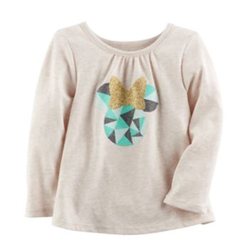 Disney's Minnie Mouse Baby Girl Glittery Graphic Long Sleeve Tee by Jumping Beans®
