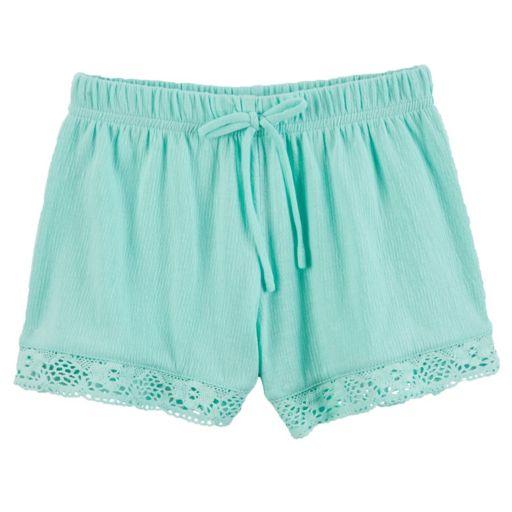 Toddler Girl Carter's Crochet-Trim Gauze Shorts