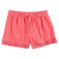 Toddler Girl Carter's Crochet-Trim Gauze Shorts