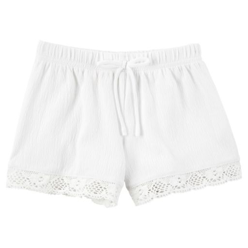 Girls 4-8 Carter's Crochet-Trim Gauze Shorts