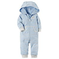 Baby Boy Carter's Turn Me Around Bear Striped Hoodie Microfleece Coverall