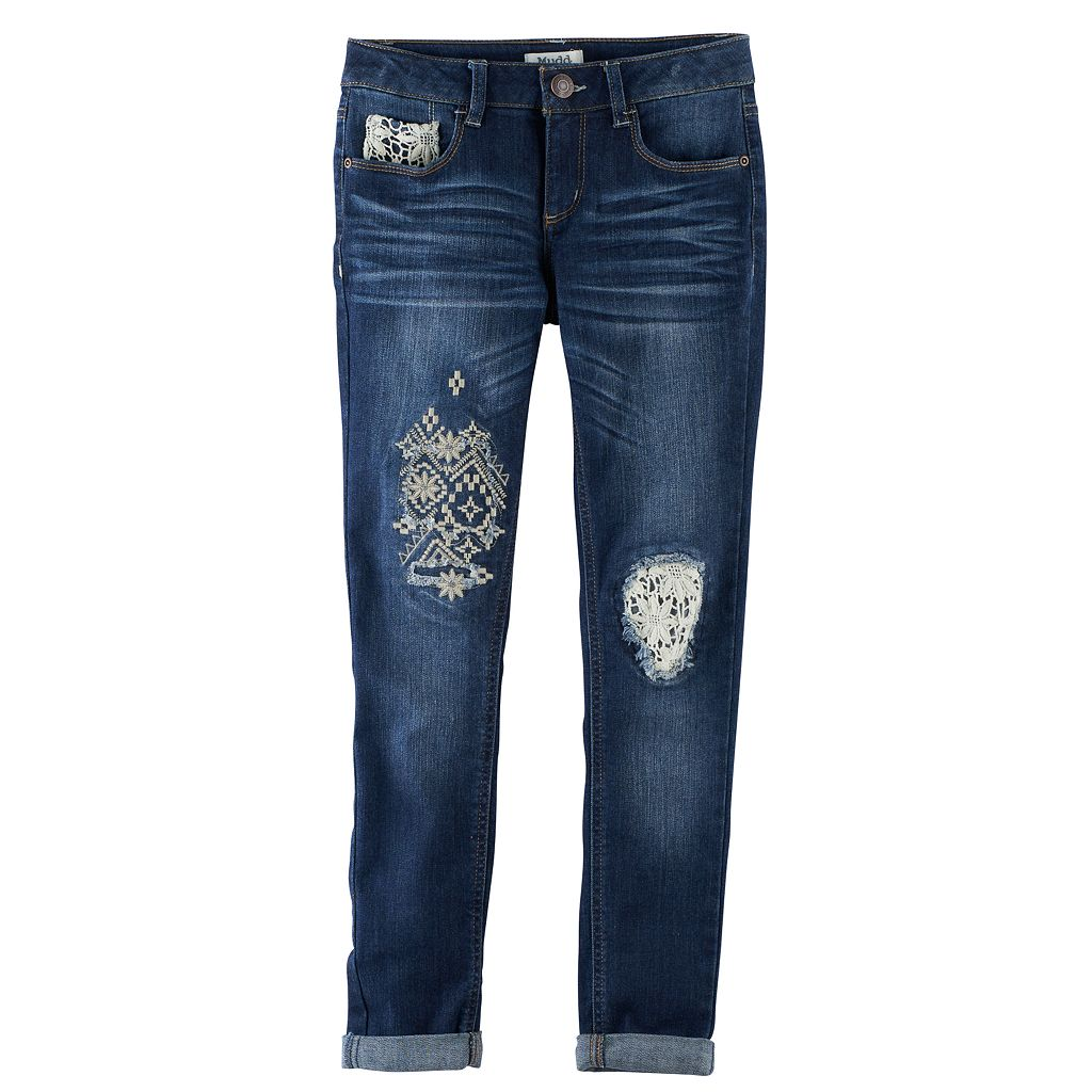 Girls 7-16 & Plus Size Mudd® Rip & Repair Crochet Ankle Skinny Jeans