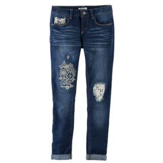 Girls 7-16 & Plus Size Mudd® Rip & Repair Crochet Ankle Skinny Jeans