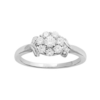 10k White Gold 12 Carat Tw Diamond Flower Engagement Ring