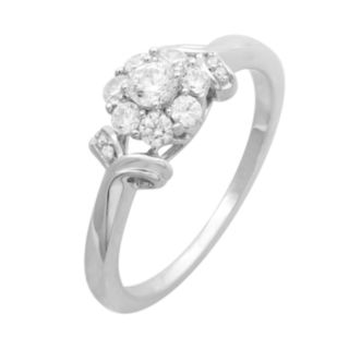 10k White Gold 1/2 Carat T.W. Diamond Flower Engagement Ring