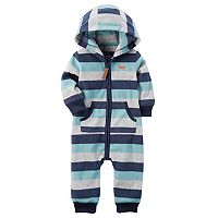 Baby Boy Carter's Striped Hooded Blue Fleece Jumpsuit