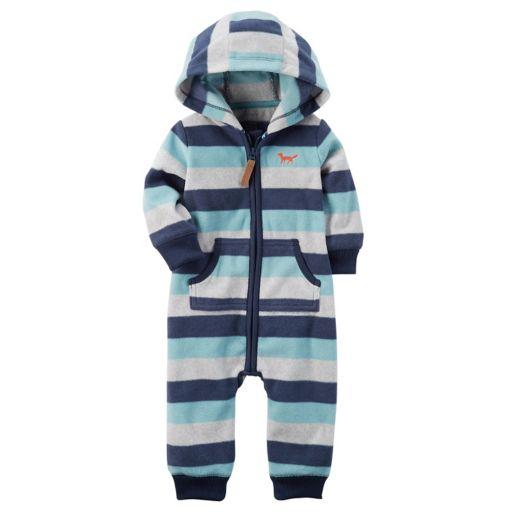 Baby Boy Carter's Striped Hooded Blue Fleece Jumpsuit