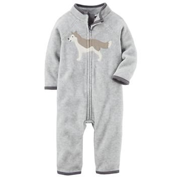 Baby Boy Carter's Wolf Heathered Fleece Jumpsuit